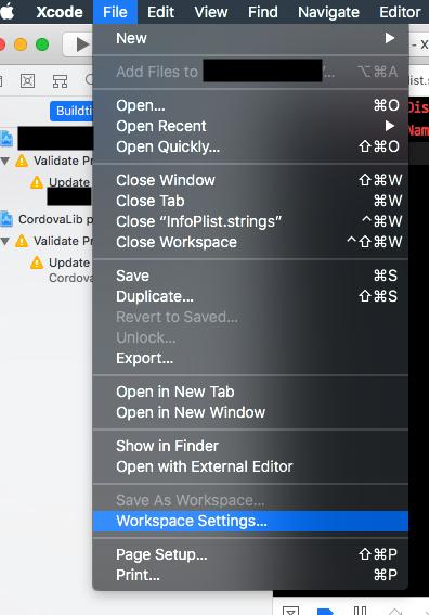 xcode 10 x 버전에서 ionic ios 빌드 오류 해결 방법