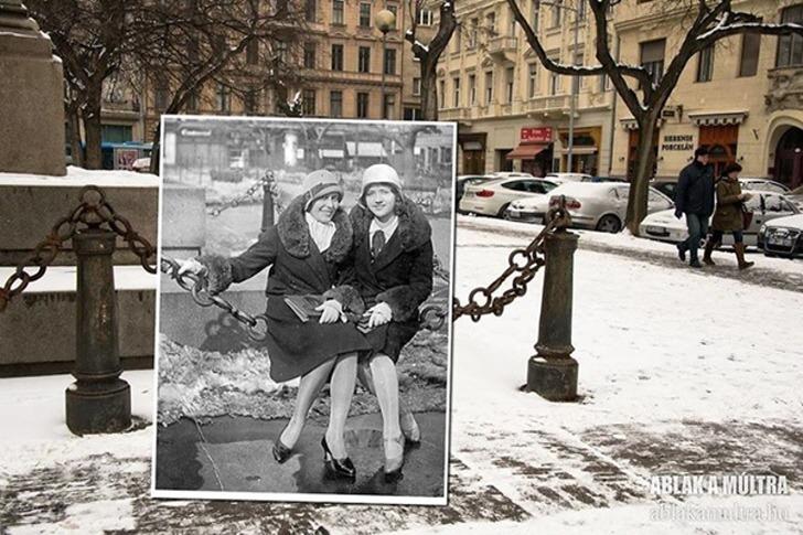 과거와 현재가 공존하는 절묘한 사진