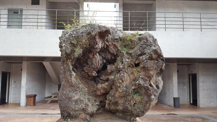 제주 돌문화공원 식당 휴게소 앞 지푸라기 난 돌