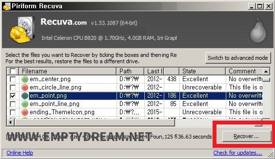 간단한 무료 파일 복구 프로그램 recuva