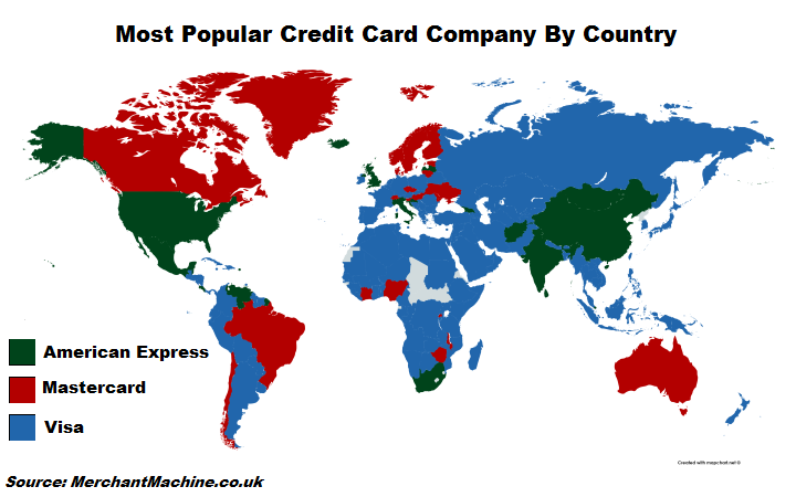 Most Popular Credit Card By Country