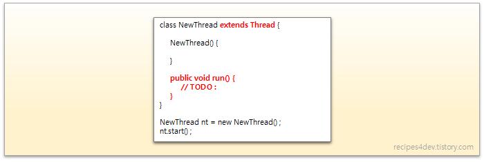 Thread 클래스를 상속(extends Thread)하여 스레드를 생성하는 코드