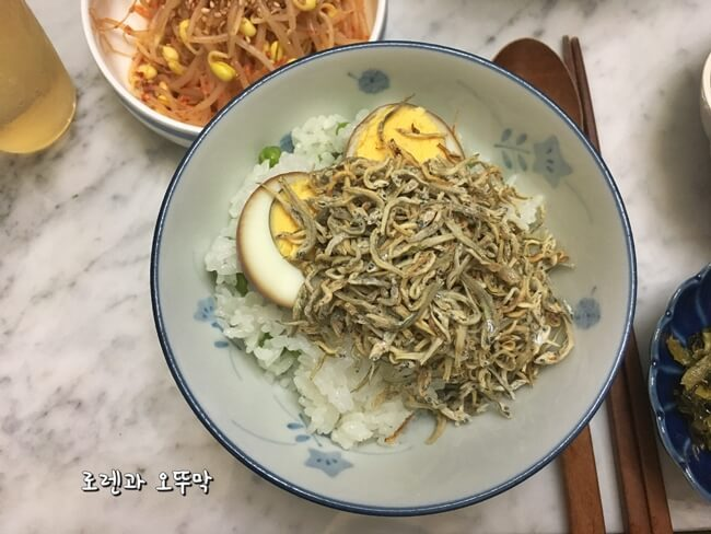 계란장조림과 빠삭한 시라스동(잔멸치 덮밥)12