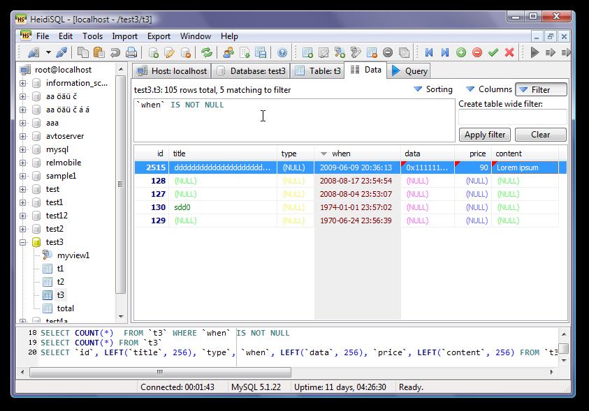 < HeidiSQL DB 데이터 조회 화면 >