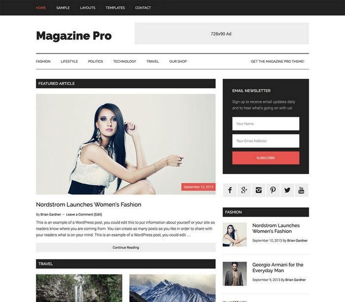 StudioPress의  Magazine Pro(매거진 프로) 테마