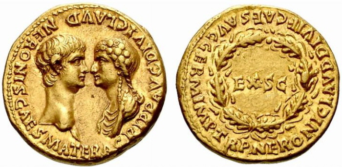 Nero and Agrippina coin