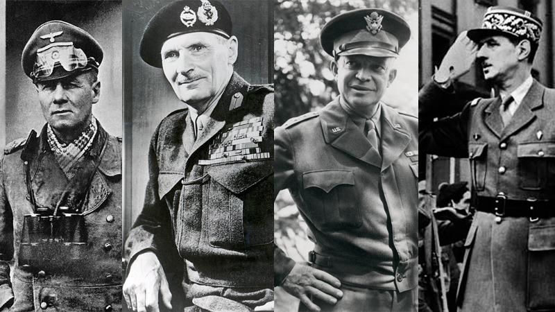 사진: 제2차 세계대전의 유명 지휘관들. 왼쪽부터 롬멜, 몽고메리, 아이젠하워, 드골의 사진이다. [프랑스 장군 샤를 드 골]