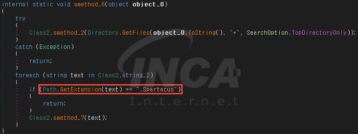 [그림 4] 예외 확장자 '.Spartacus'를 확인하는 코드