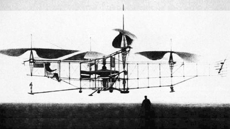 브레게리치 자이로플레인 드론이 네 개의 날개로 떠오른다