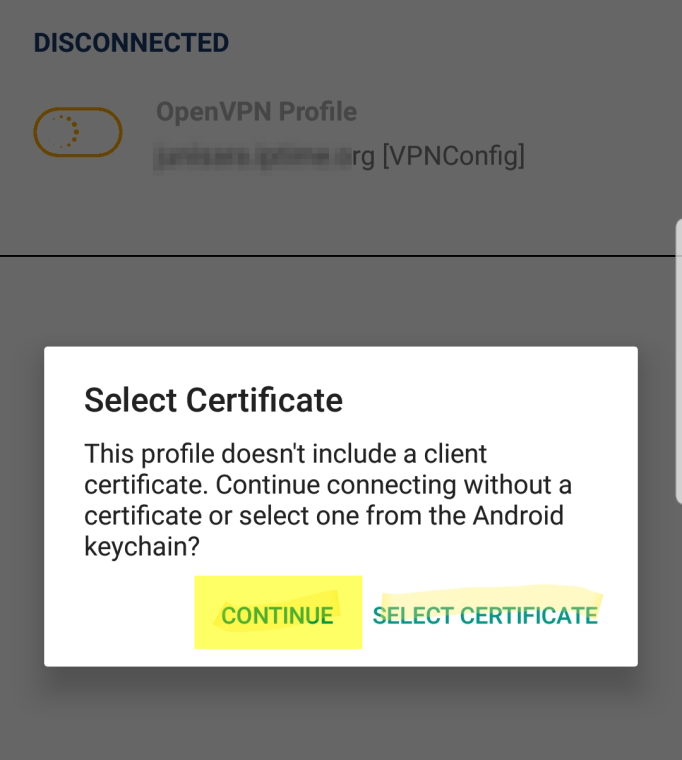 Select Certificate 팝업
