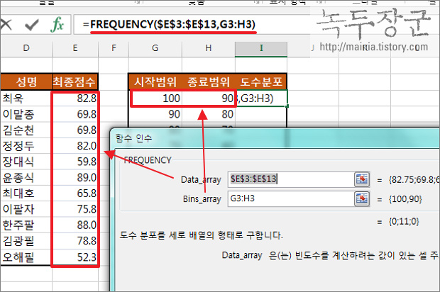 엑셀 Excel 함수 FREQUENCY 이용해서 발생 빈도율이 높은 데이터 찾아내는 방법