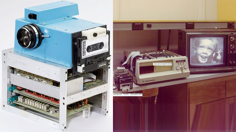 사진: 1975년 코닥카메라가 만든 최초의 디지털 카메라. 우측의 테이프에 저장하며 TV에 연결해서 봤다.