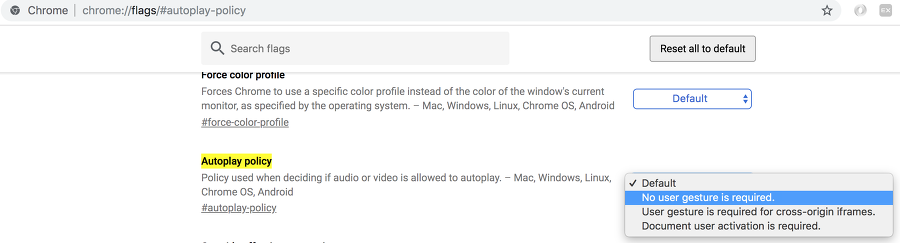 chrome://flags/#autoplay-policy