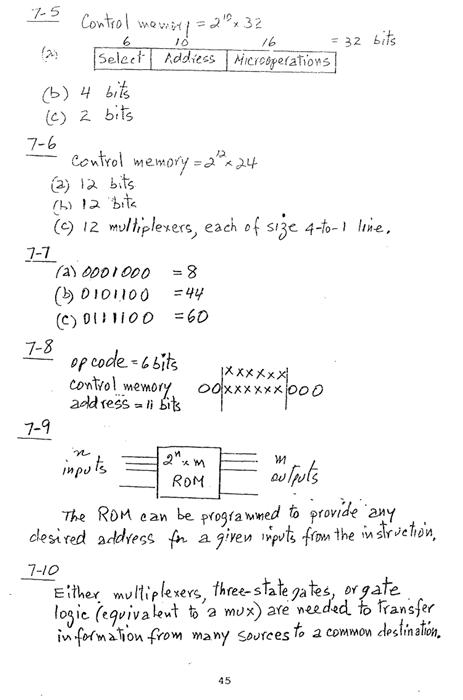 컴퓨터구조 연습문제, 모리스 마노 챕터7 45