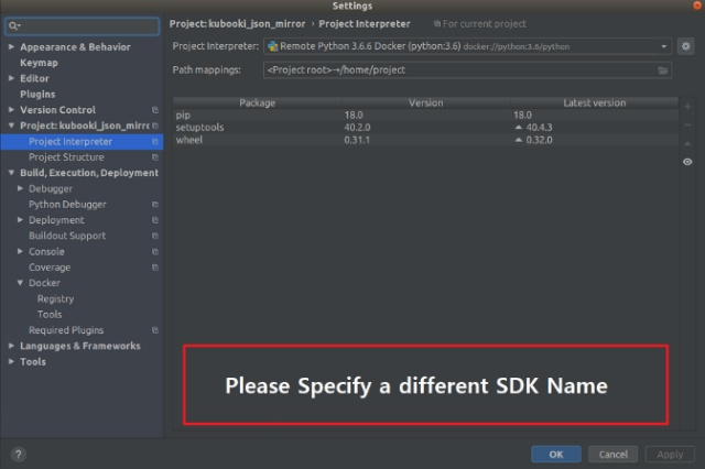 pycharm please specify a different sdk name