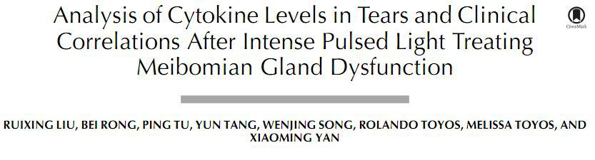 Analysis of Cytokine Levels in Tears and Clinical Correlations After Intense Pulsed Light Treating Meibomian Gland Dysfunction