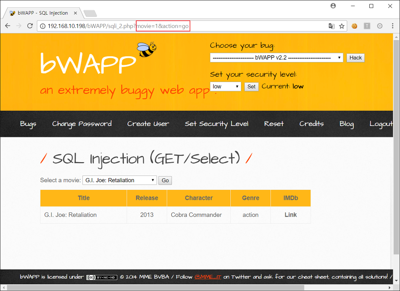 SQL Injection (GET/Select)