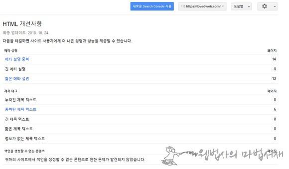 구글 서치 콘솔 HTML 개선 사항