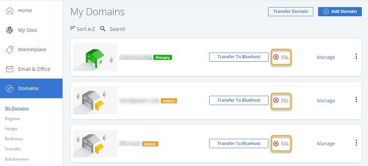 블루호스트 SSL 인증서 - 도메인