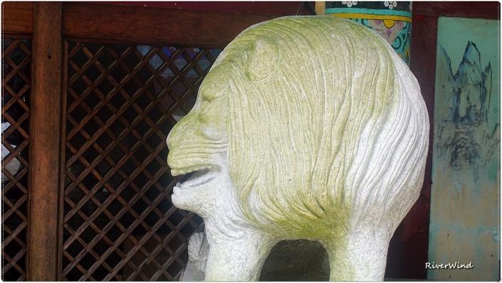 마하사 사자상 석물