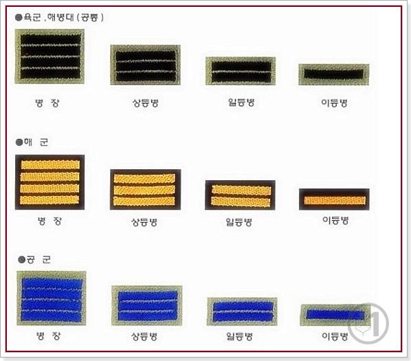 육군, 해병대, 해군, 공군 병사 계급