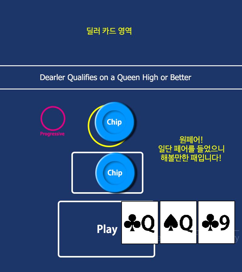 쓰리카드포커 게임 화면