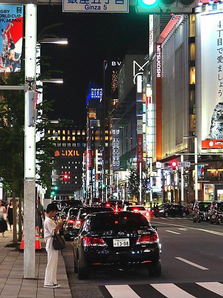 일본 도쿄 긴자 번화가 밤거리 야경 日本 東京 銀座 夜景