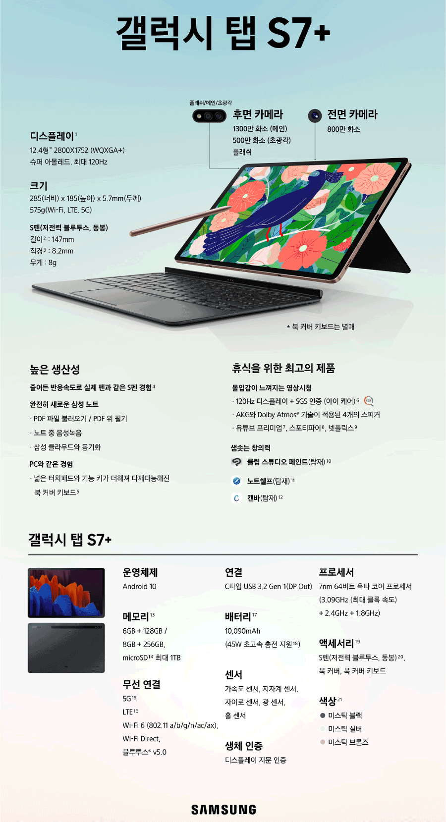 galaxy tab s7+ specifications