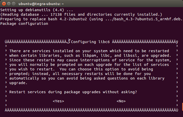 Configuring libc6 - yes - 1