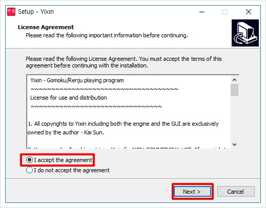 I accept the agreement