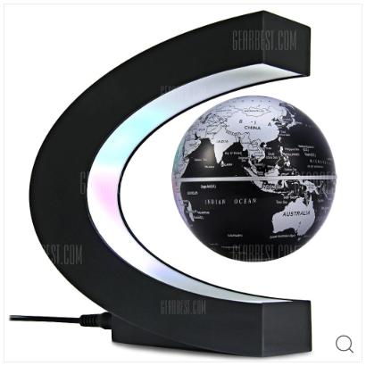 ▲C Shape Magnetic Levitation Floating Globe World Map with LED Light Decoration for Home Office