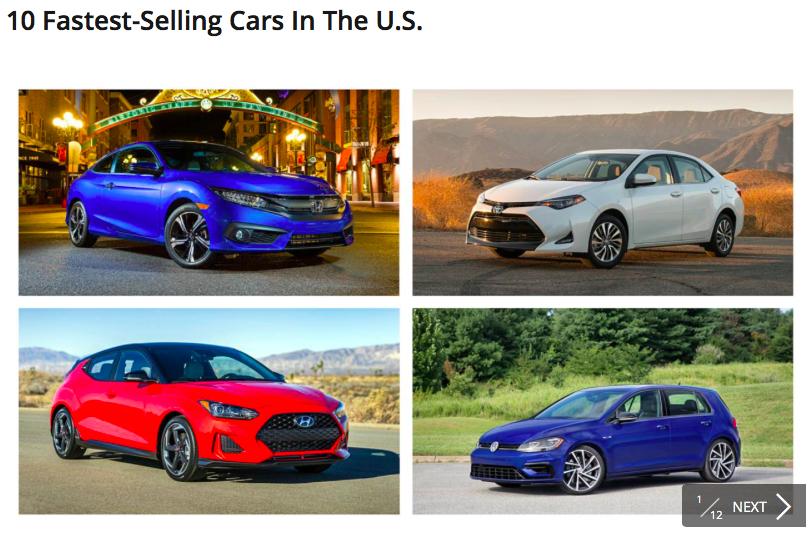 미국에서 가장 인기있는 10대의 자동차 그리고 국산 메이커는?!