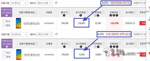 KT 샤오미 홍미노트5 공시지원금