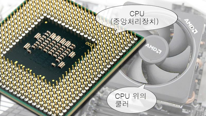 사진: 중앙처리장치(CPU)의 뒷면과 열을 식히기 위한 CPU위의 쿨러