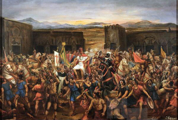 Painting-The-Battle-of-Cajamarca