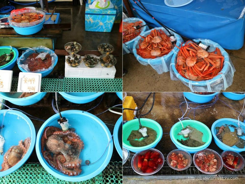 각종 해산물, 홍게, 문어, 해삼 등
