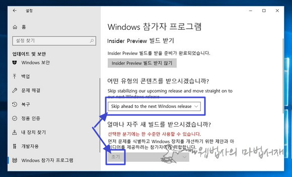 Skip ahead to the next Windows release 옵션 고정 불가 문제