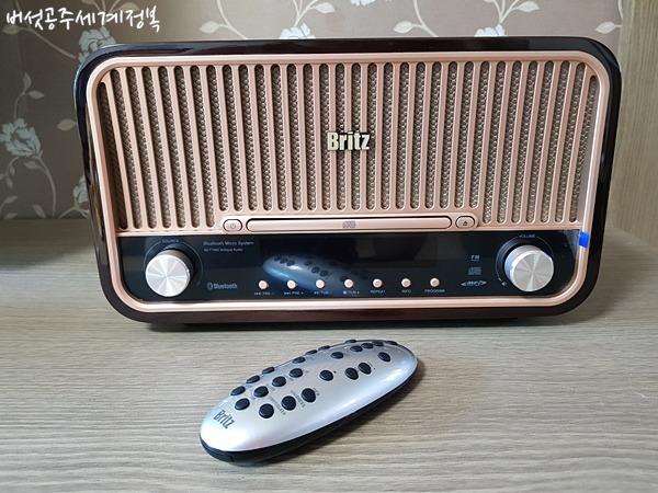 BZ-7900 브리츠 일체형 앤틱 오디오 (블루투스 CD 라디오 알람)