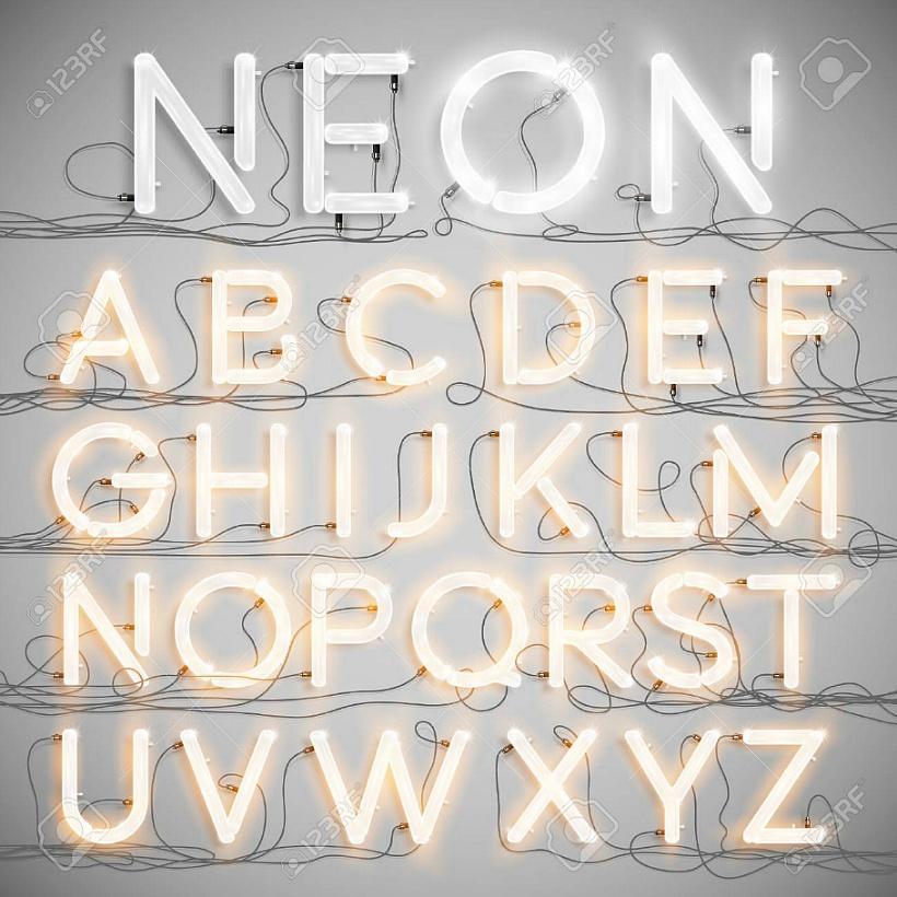현실적인 3D 입체 네온 폰트 글꼴
