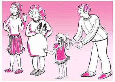 새 구두를 신고 유치원에 가겠다는 딸과 허락 않는 엄마, 중재하는 아빠, 손녀 역성을 드는 할머니.