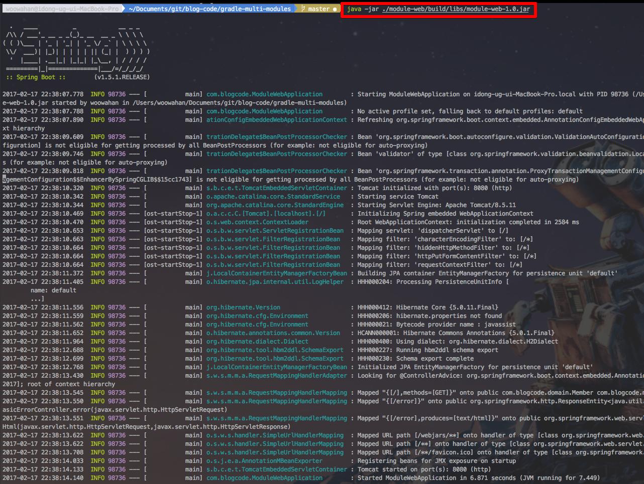 module-web 실행