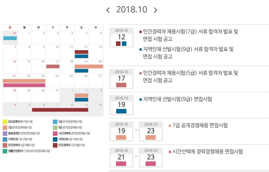 2018년 10월 공무원시험 세부일정