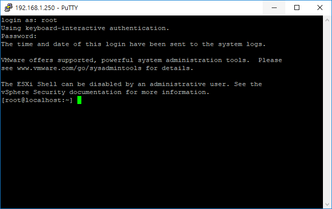 VMware ESXi 6.5 ssh 접속 방법