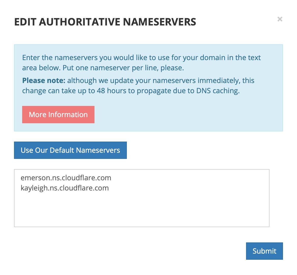 도메인 제공업체의 네임서버를 모두 지우고 cloudflare 사의 네임서버만 남겨두었다.