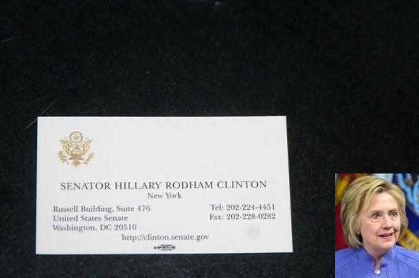 힐러리 클린턴(Hillary Clinton)의 명함