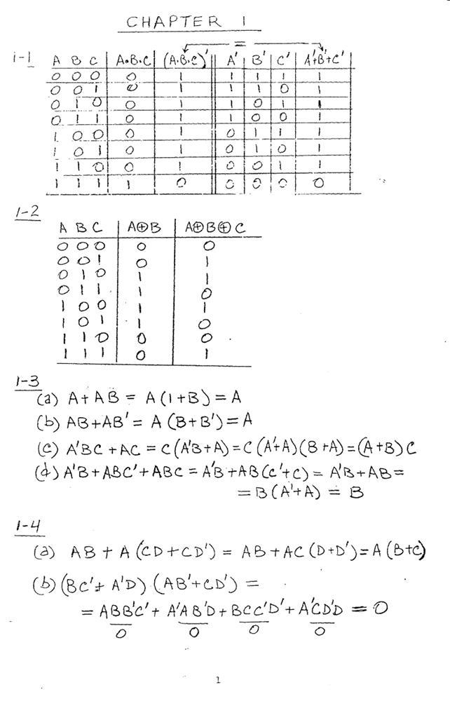 컴퓨터구조 연습문제, 모리스 마노 챕터1 1