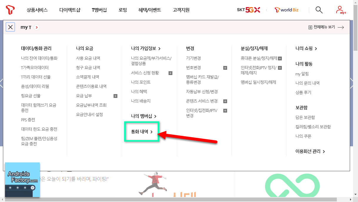 SK 텔레콤 통화내역조회