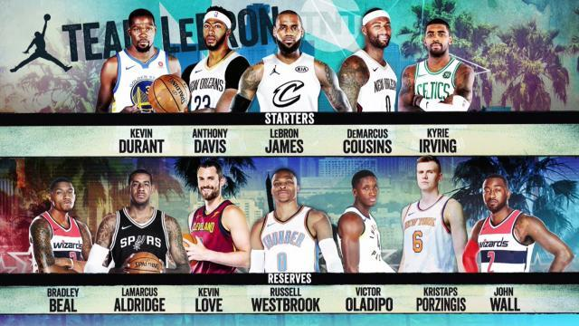 2018 NBA all-star, Team LeBron starters and reserves