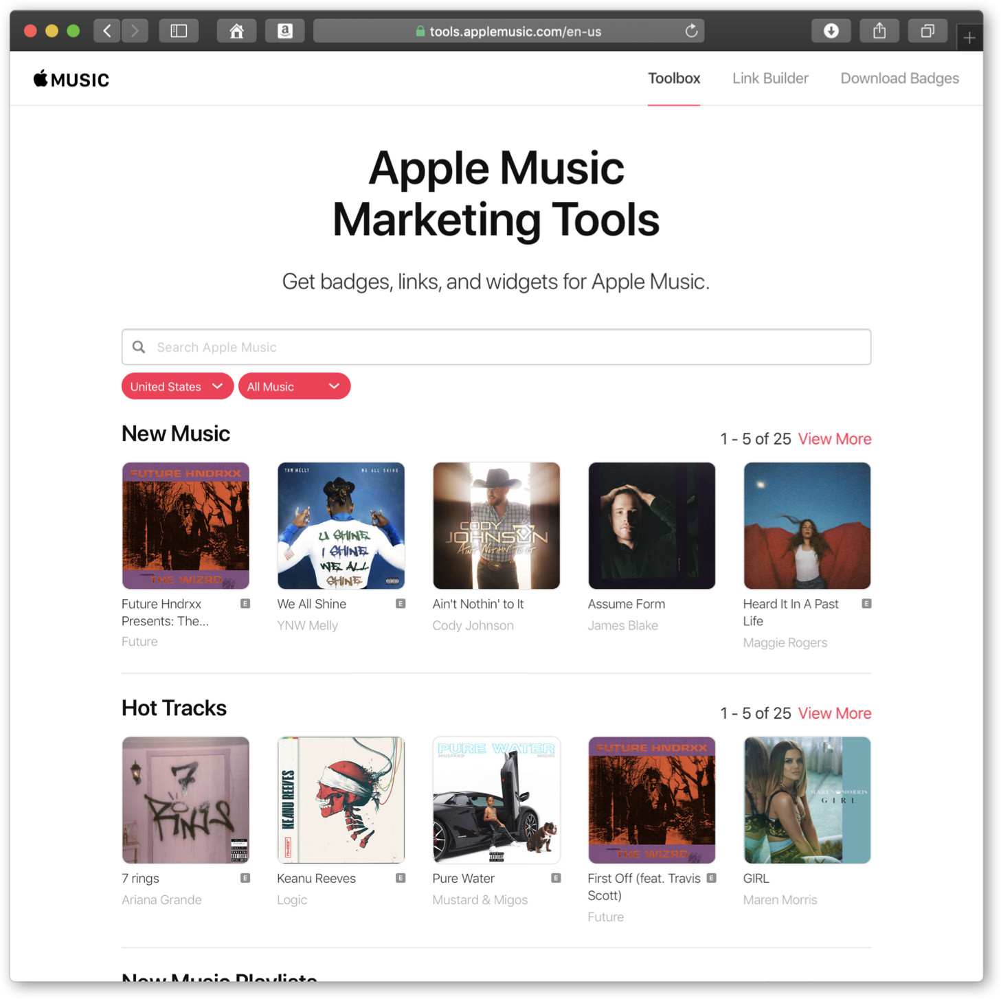 Apple Music Marketing Tool 페이지 스샷