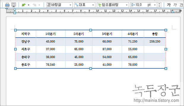 엑셀 Excel 한글 문서의 표를 가져오는 방법